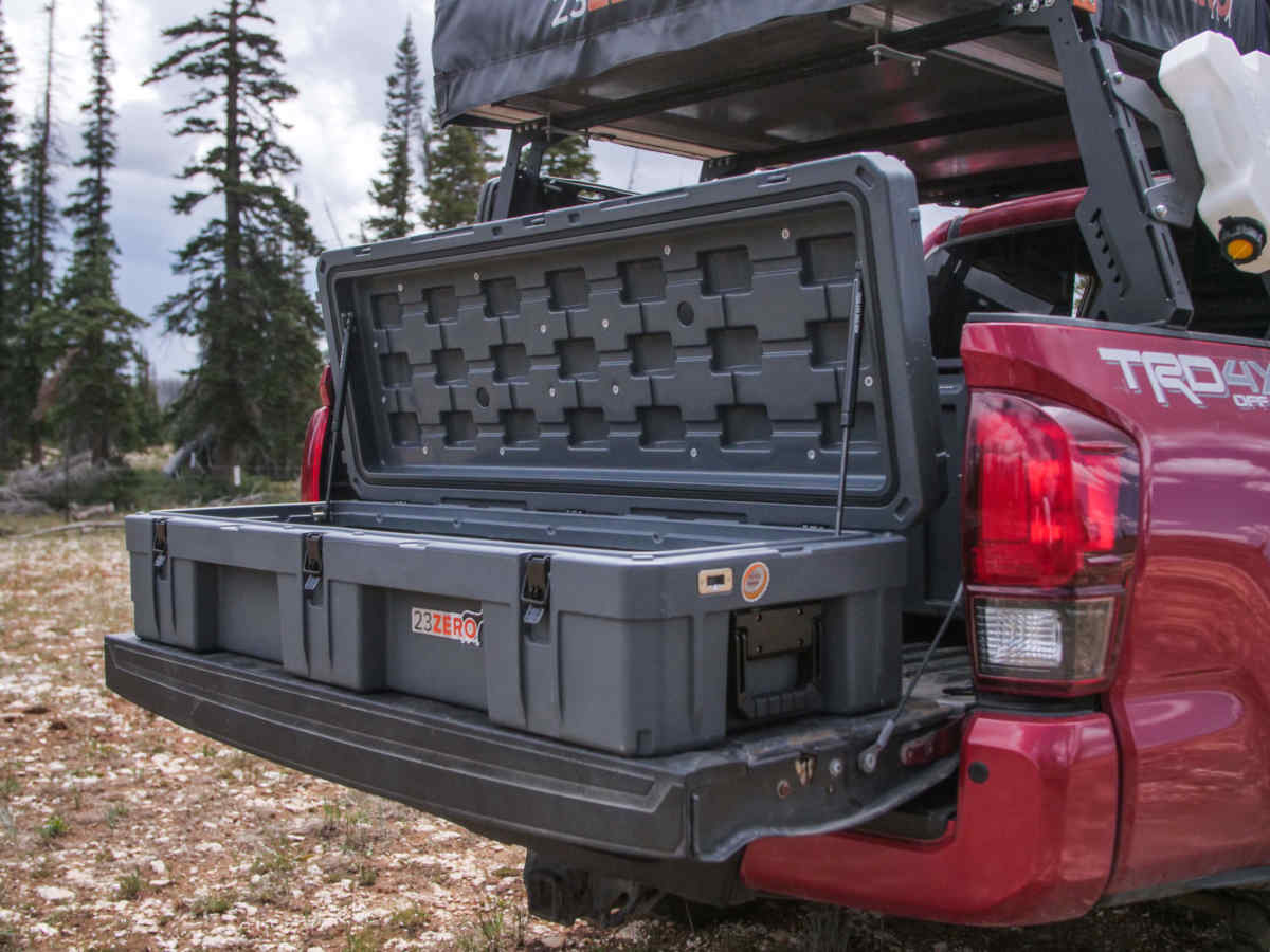 128 overland storage box with open lid