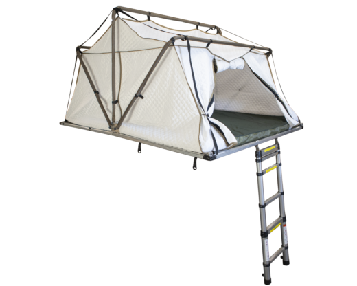 winter roof top tent with ladder